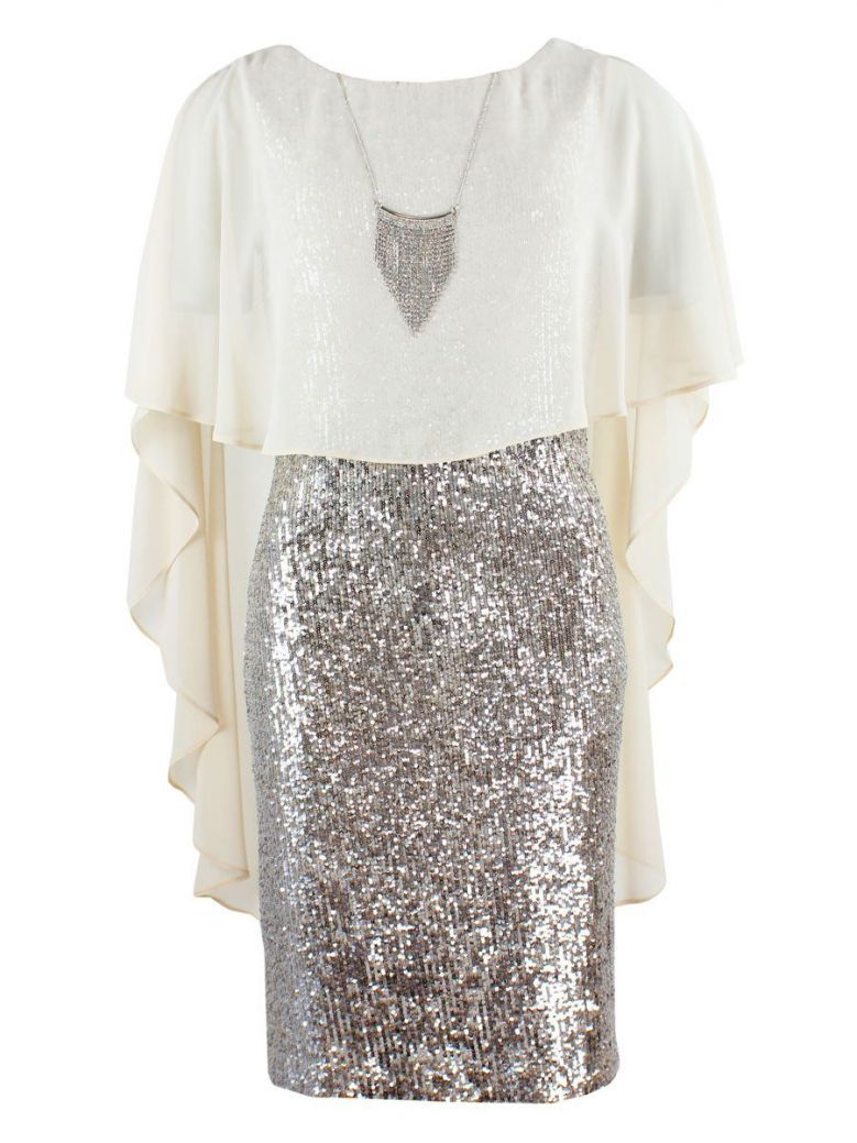 Frank Lyman Silver Sequin Beige Overlay Dress With Necklace
