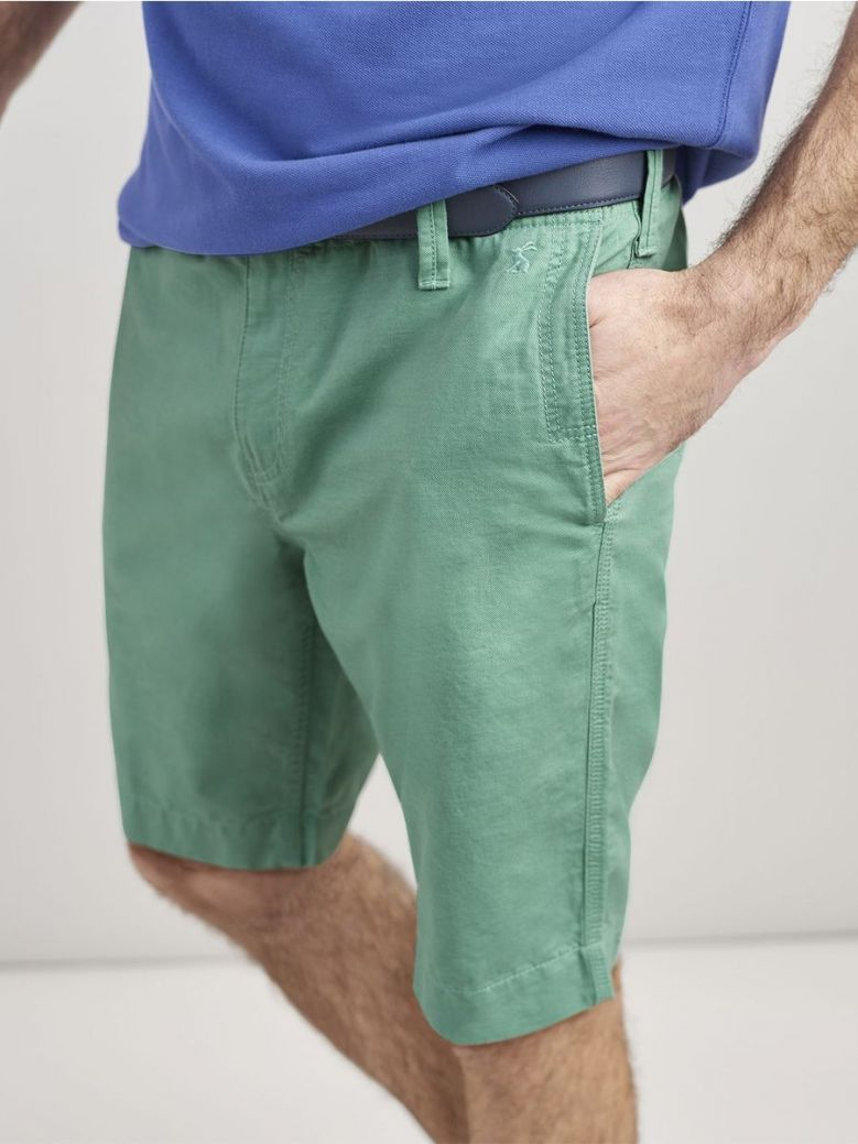 Joules Mint Green Laundered Linen Chino Shorts