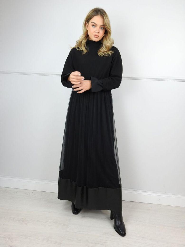 Hukka Black High Neck Net Detail Dress