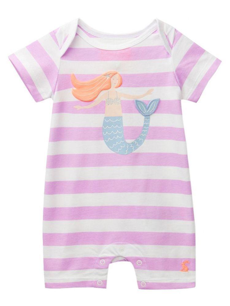 Joules Pink & White Short Leg Babygrow