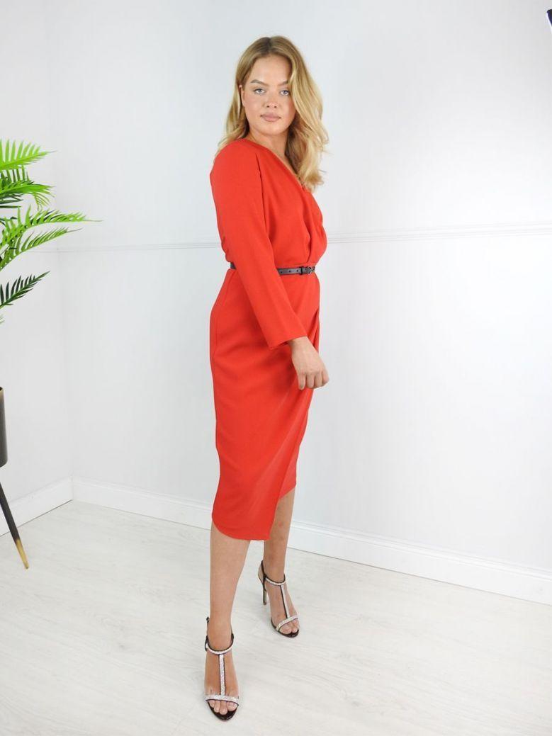 Kate Cooper Red V-Neck Wrap Dress