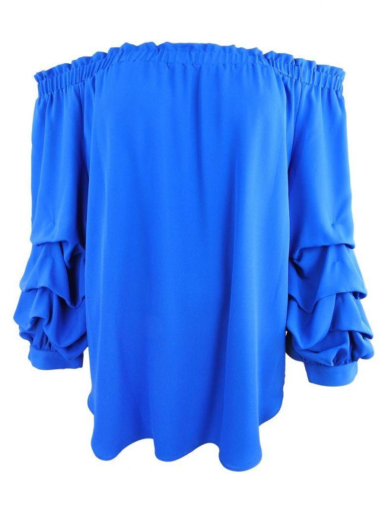 Frank Lyman Blue Ruffle Sleeve Blouse