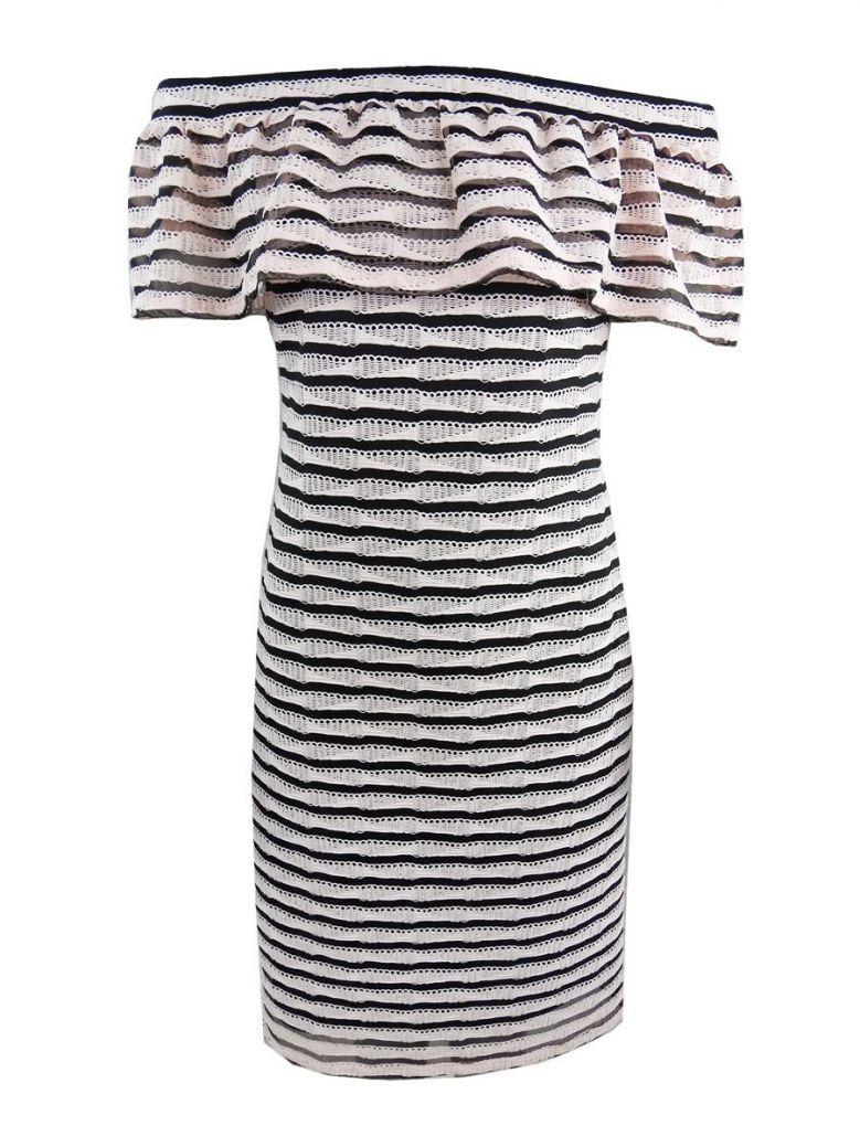 Frank Lyman Stripe Off The Shoulder Dress, Pink and Black, Style 201396