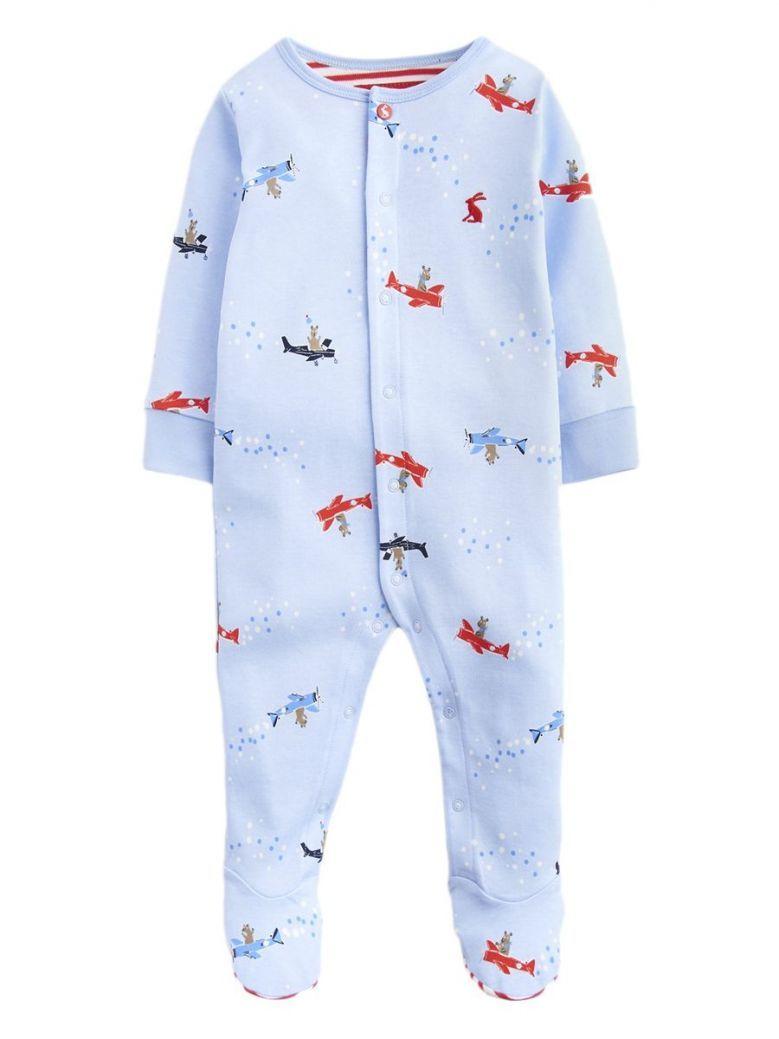 Joules Sky Blue Ziggy Jersey Printed Babygrow