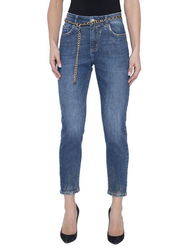 Frank Lyman Denim Chain Belt Straight Leg Jeans