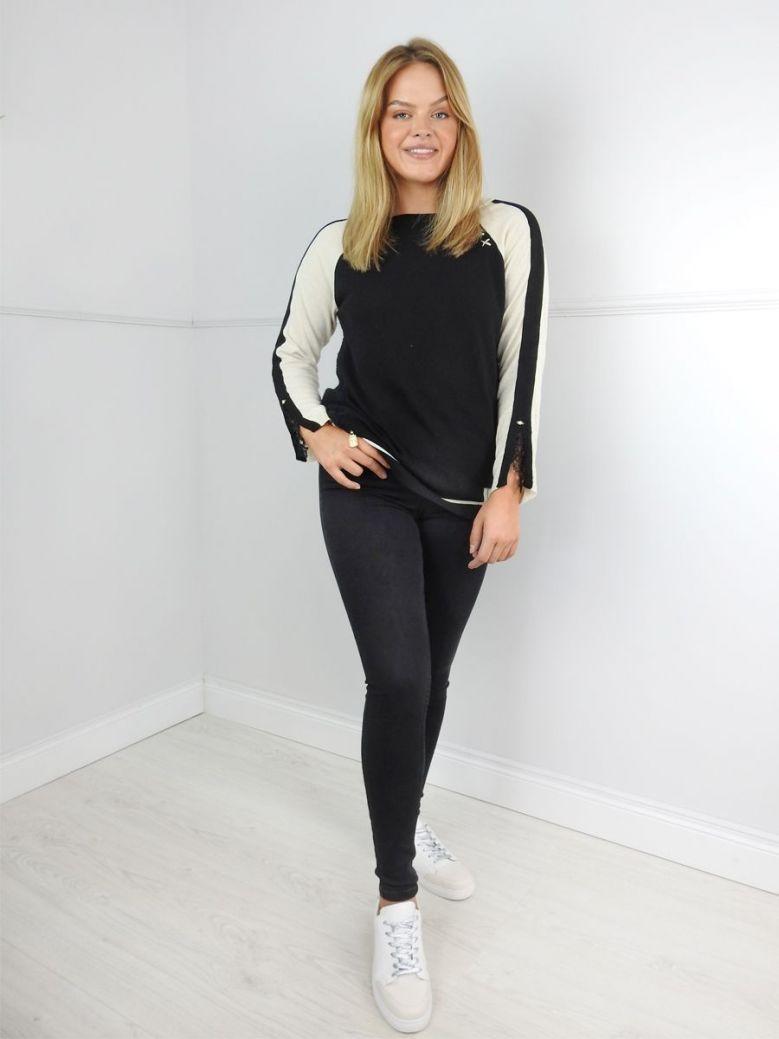 Elisa Cavaletti Black and Beige Contrast Panel Jumper