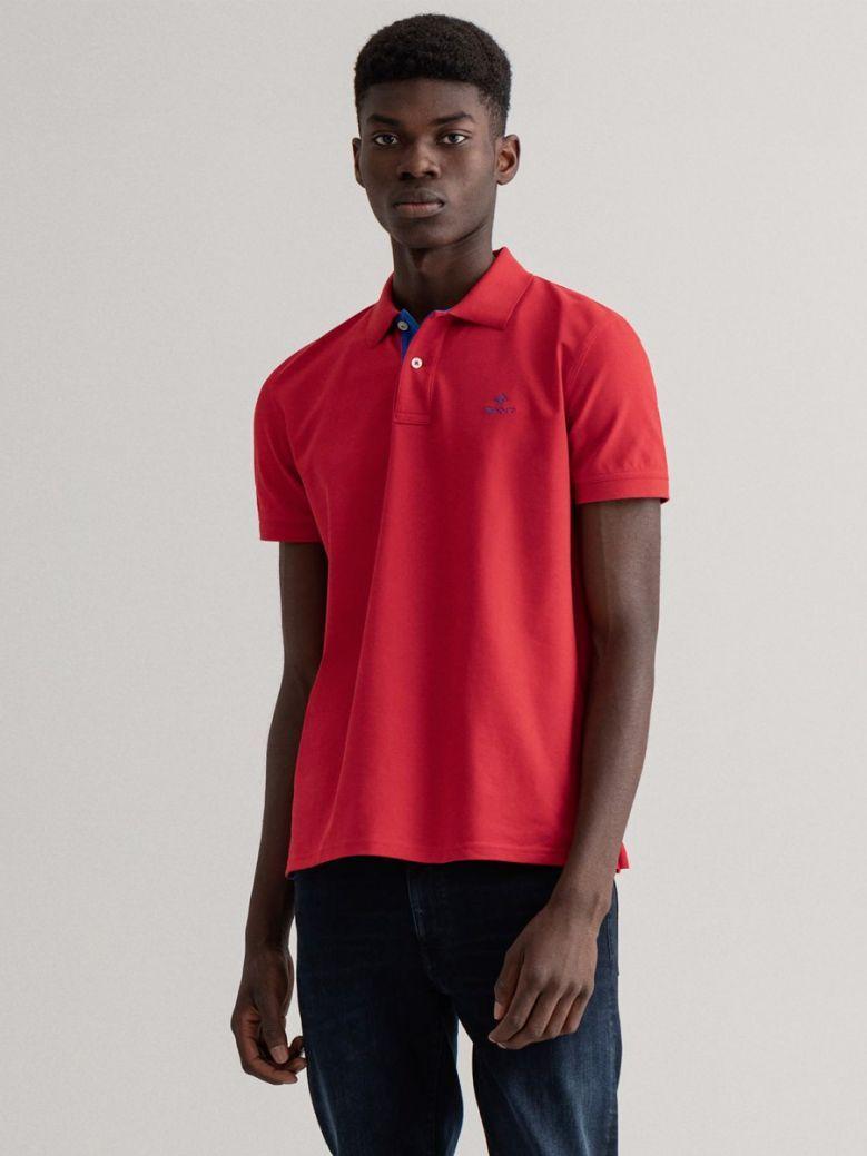 Gant Men Bright Red Contrast Collar Piqué Polo Shirt