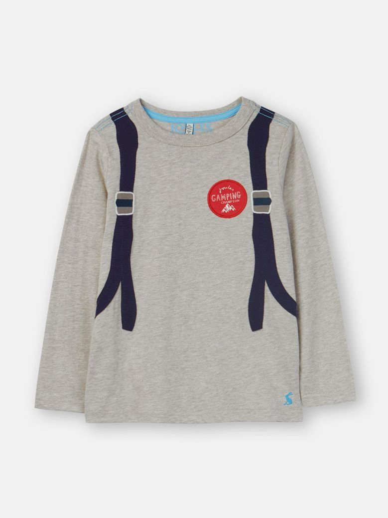 Joules Kids Grey Backpack Animate Applique Top