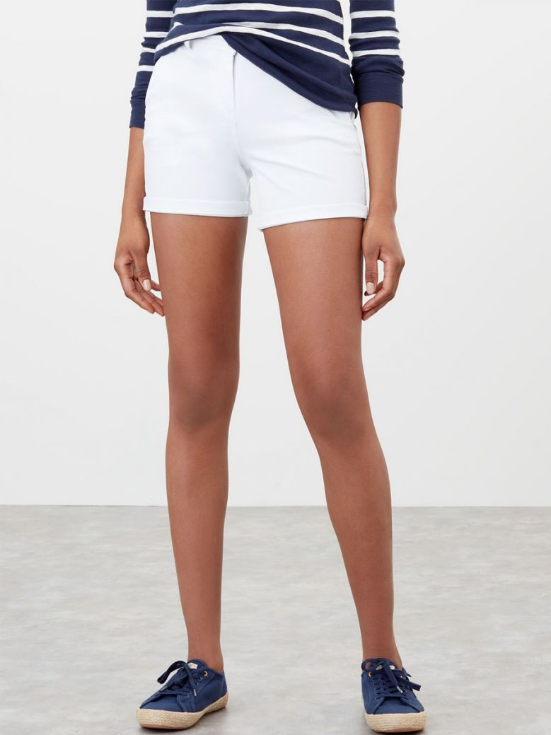 Joules Ladies Bright White Cruise Mid Length Chino Shorts