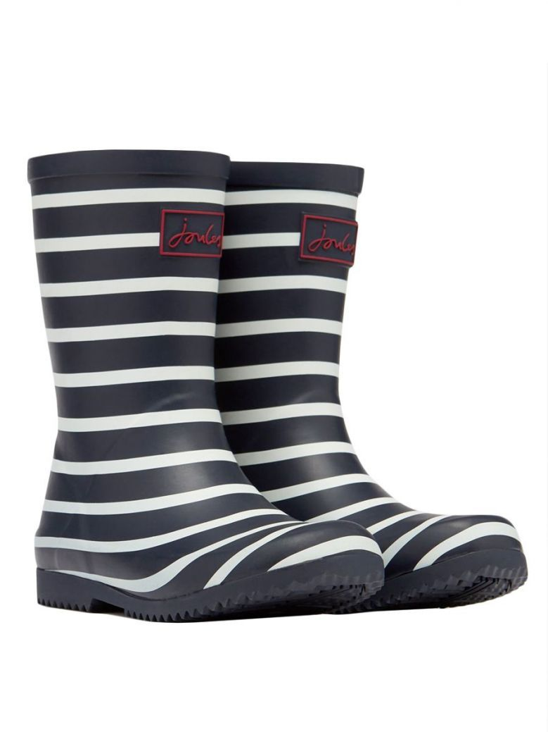 Joules Kids Navy Stripe Roll Up Wellies