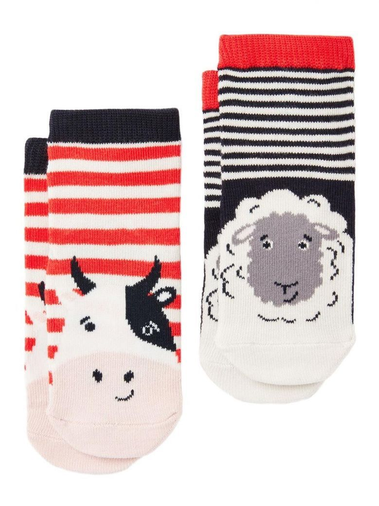 Joules Neat Feet Multi Cow and Sheep Character Socks (2 Pack)