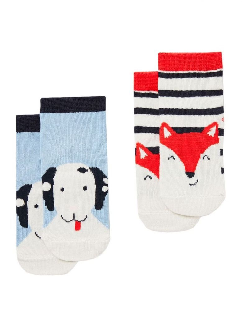 Joules Neat Feet Multi Dog and Fox Character Socks (2 Pack)