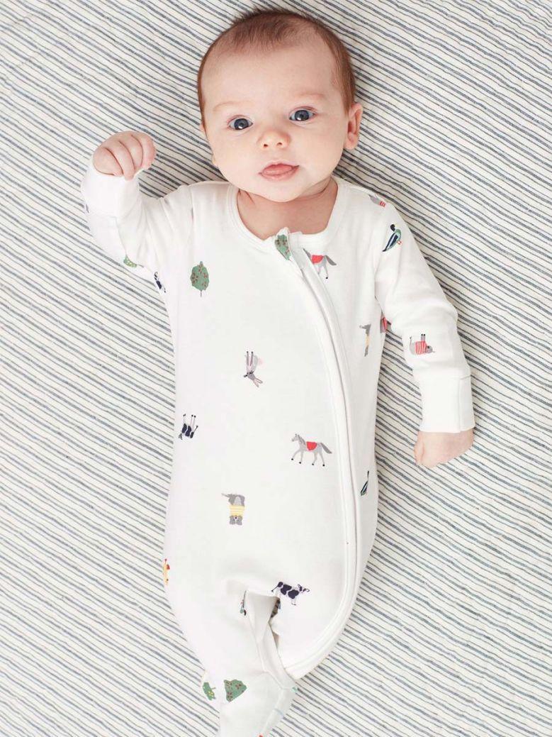 Joules White Farm Print Zip Babygrow