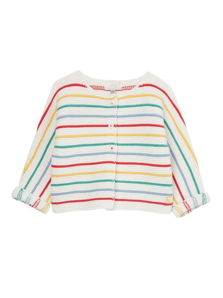 Joules White Multi Stripe Chunky Knit Cardigan