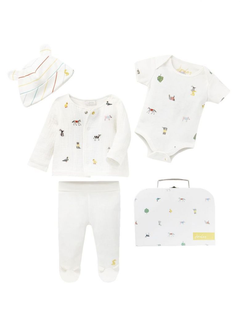Joules White Farm Print 4 Piece Baby Outfit