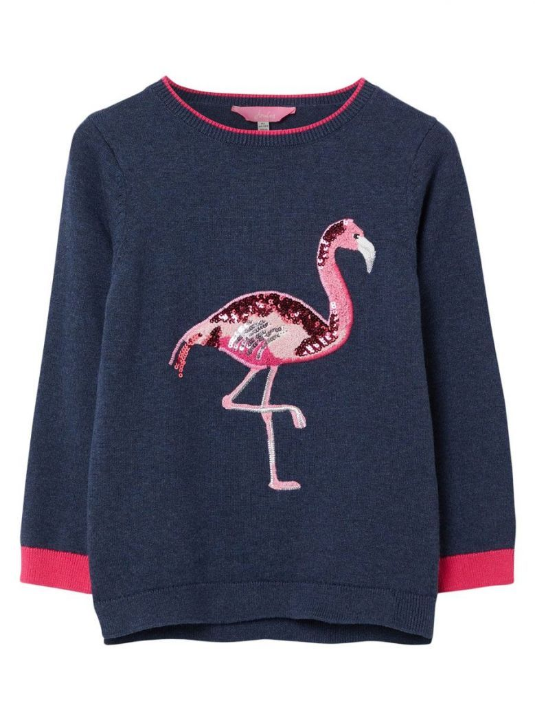 Joules Navy Meryl Flamingo Intarsia Knit Jumper