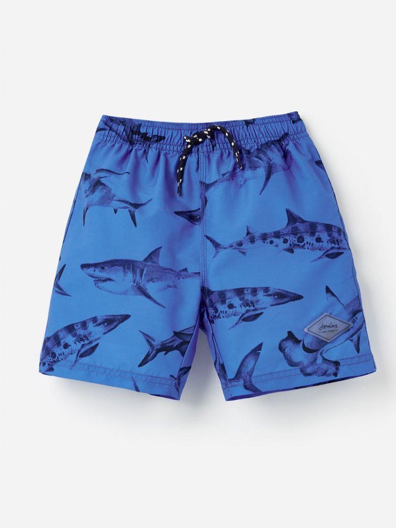 Joules Kids Blue Sharks Ocean Swim Shorts