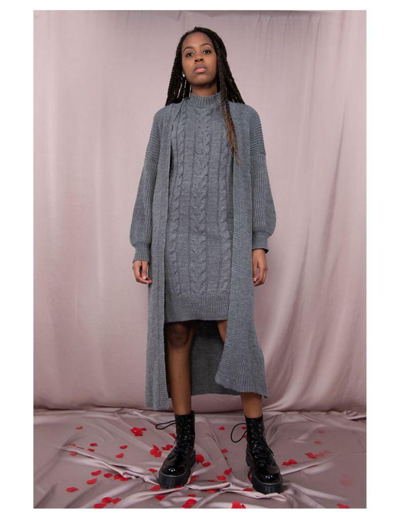 Cilento Woman Grey Knitted Longline Dress & Cardigan
