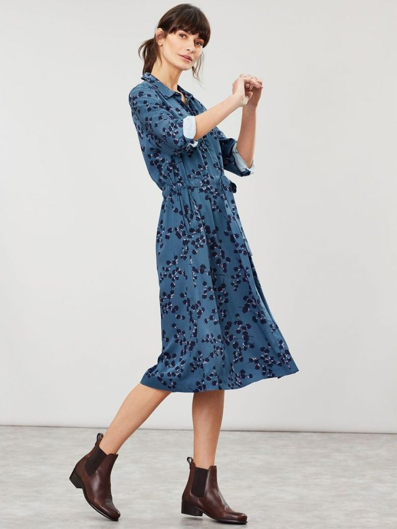 Joules Teal Blossom Winslet Shirt Dress
