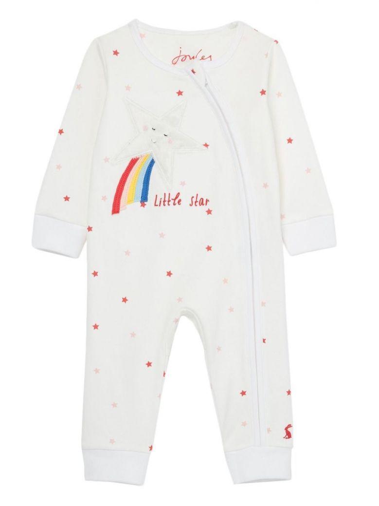 Joules White Little Star Winfield Zip Babygrow