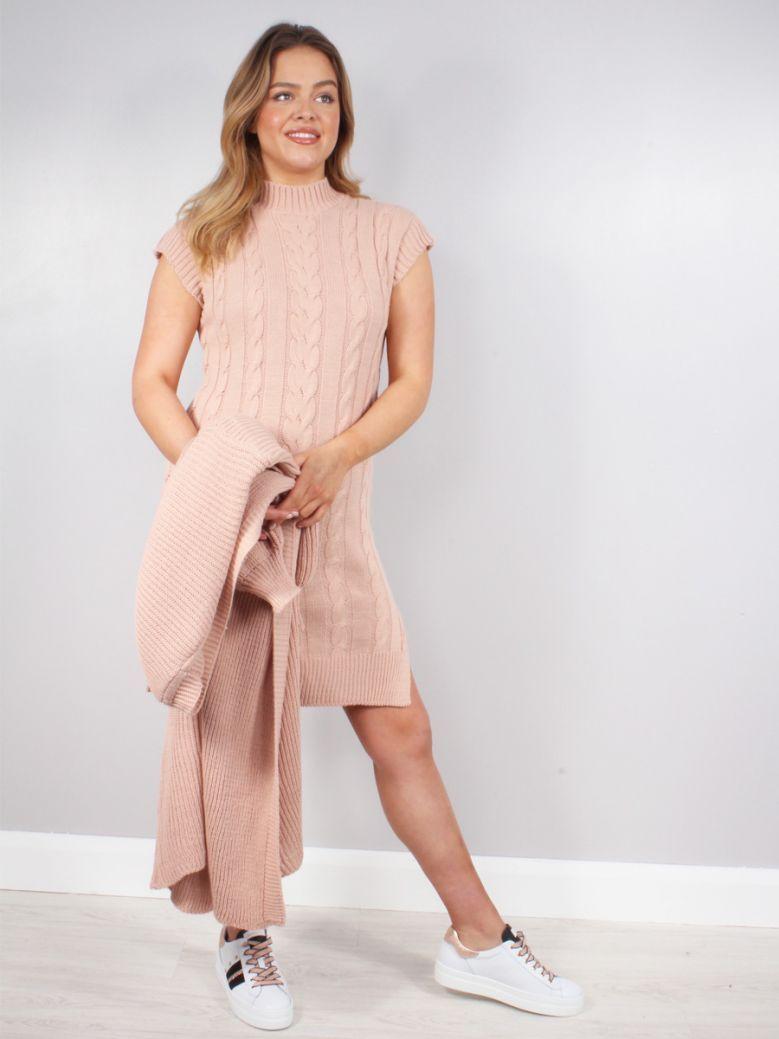 Cilento Woman Pink Knitted Longline Dress & Cardigan