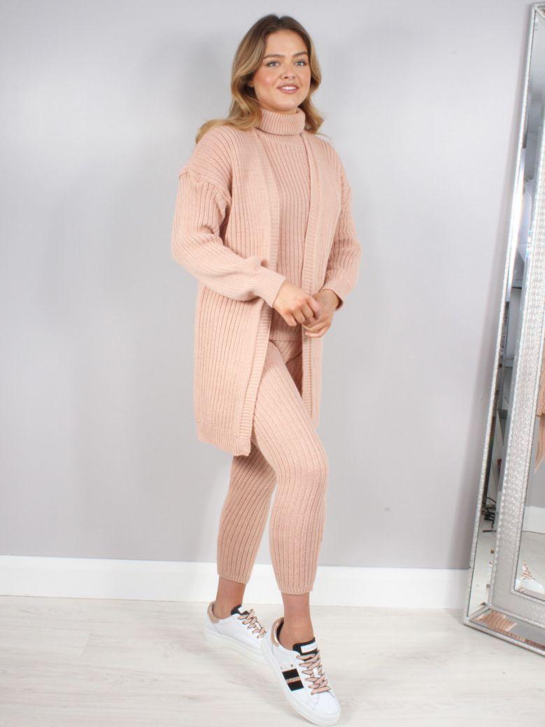 Cilento Woman Pink 3 Piece Roll Neck Loungewear Set
