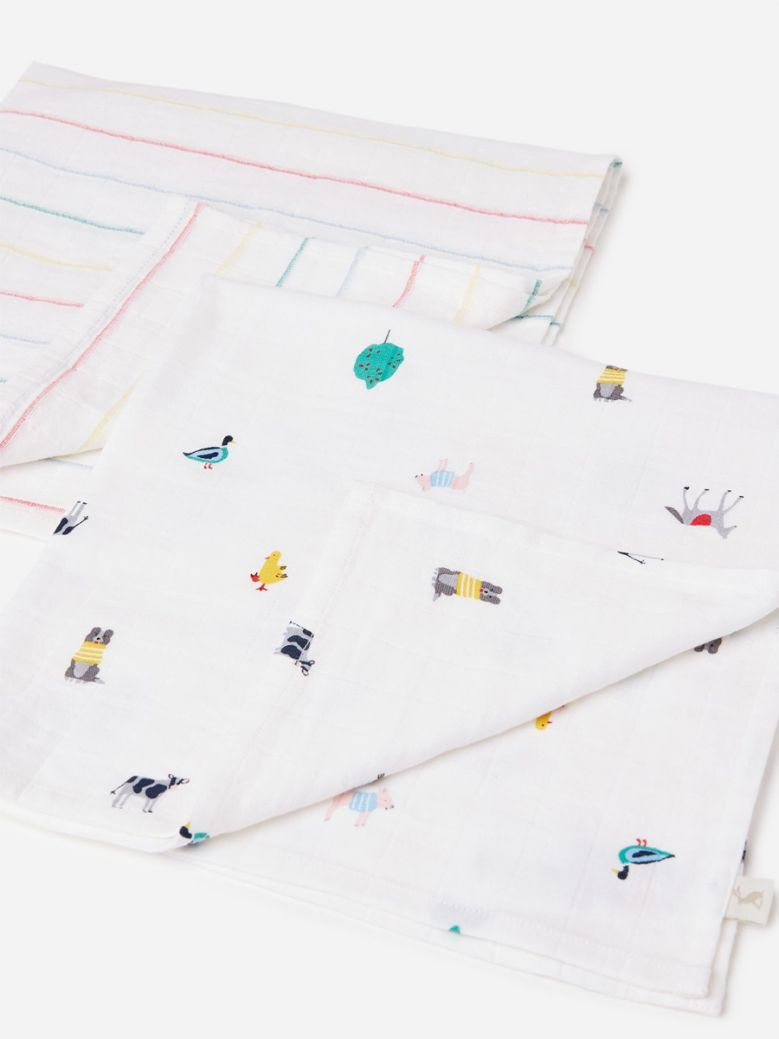 Joules White Farm Print Organically Grown Cotton 2 Pack Muslin Squares