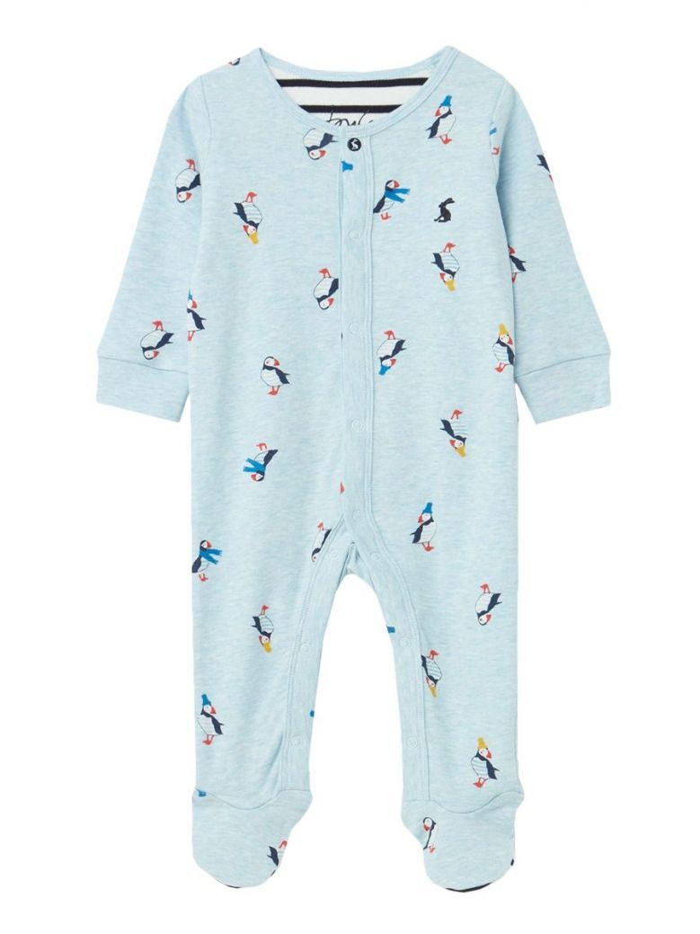 Joules Blue Puffins Printed Ziggy Babygrow