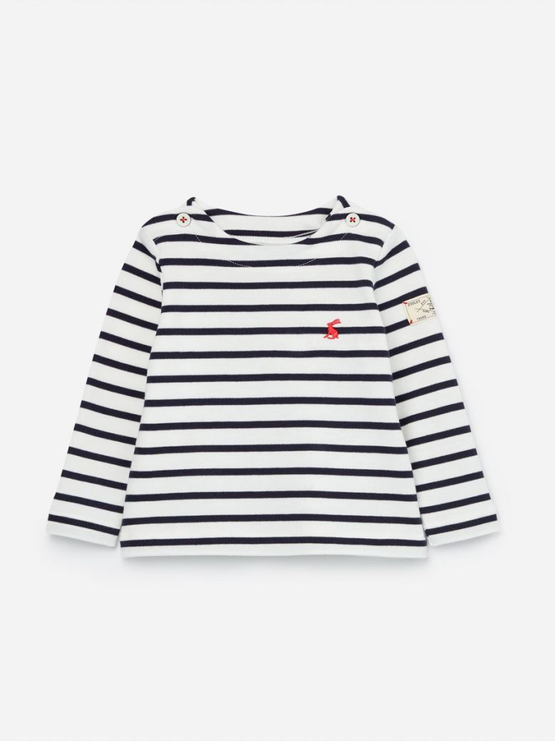Joules White Navy Harbour Stripe Top