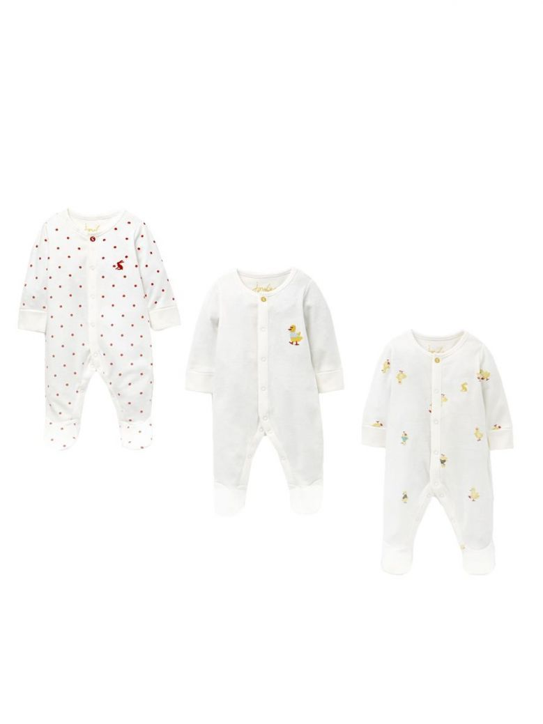 Joules White Duckling Cotton 3 Pack Babygrow