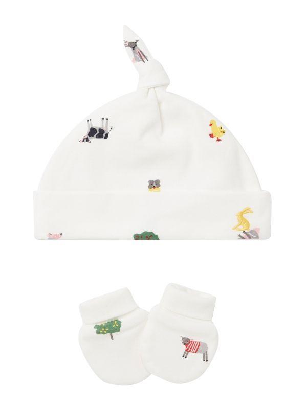 Joules White Farm Print Hat & Scratch Mitt Set