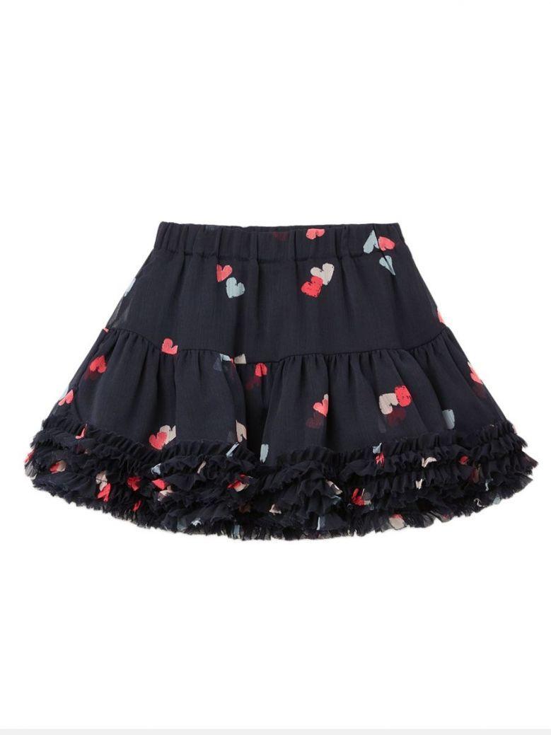 Joules Lillian Navy Multi Heart Printed Tutu Skirt