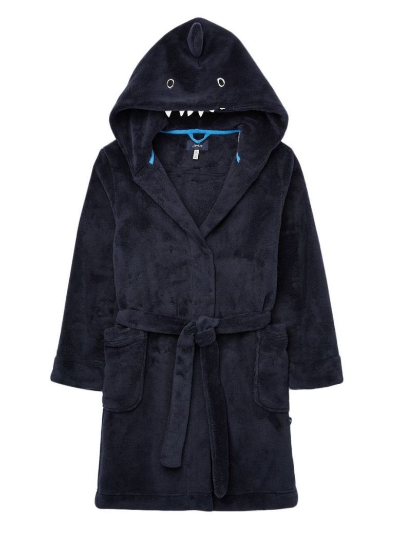 Joules Navy Shark Novelty Dressing Gown