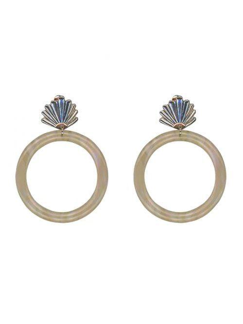 Big Metal London Beatrice Seashell Resin Earrings