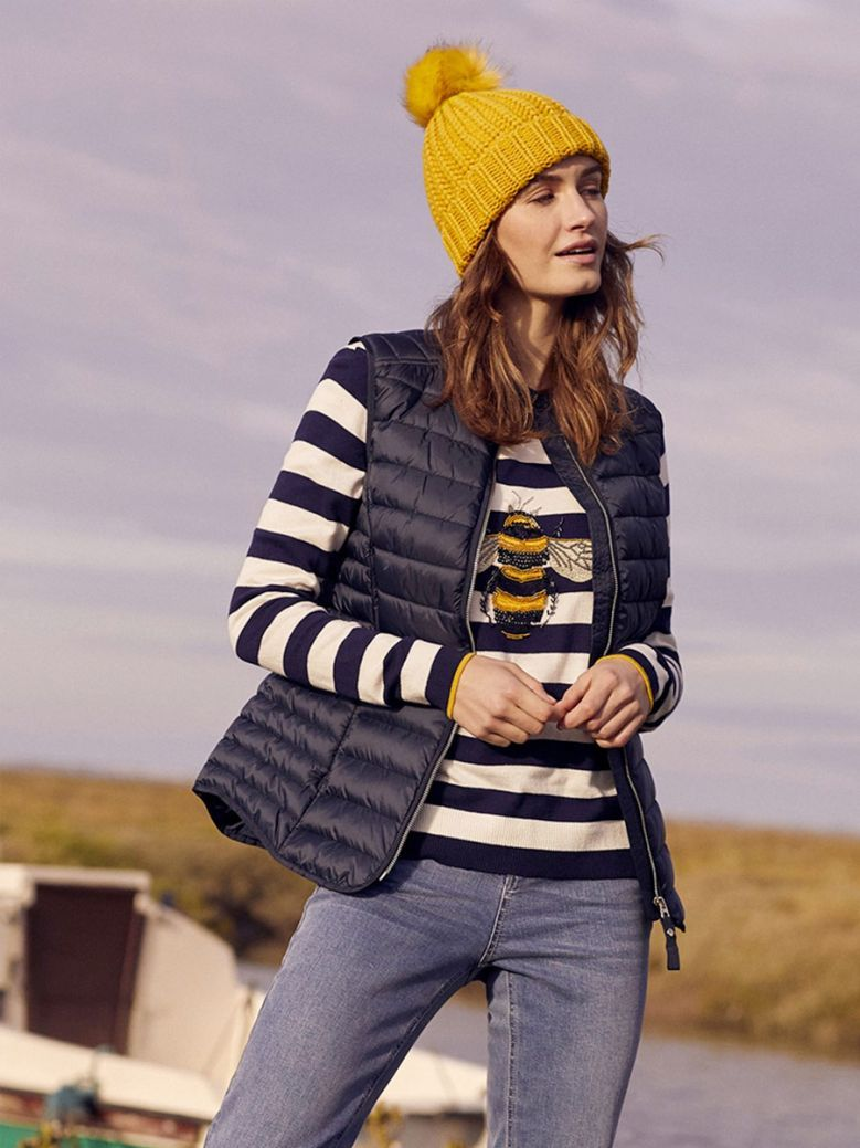Joules Navy Furlton Padded Gilet with Recycled Wadding