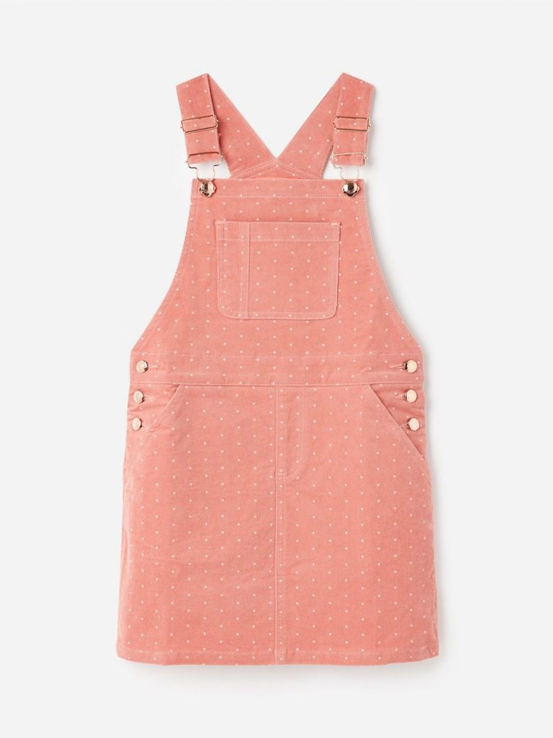 Joules Pink Star Kimberly Cord Dungaree Dress
