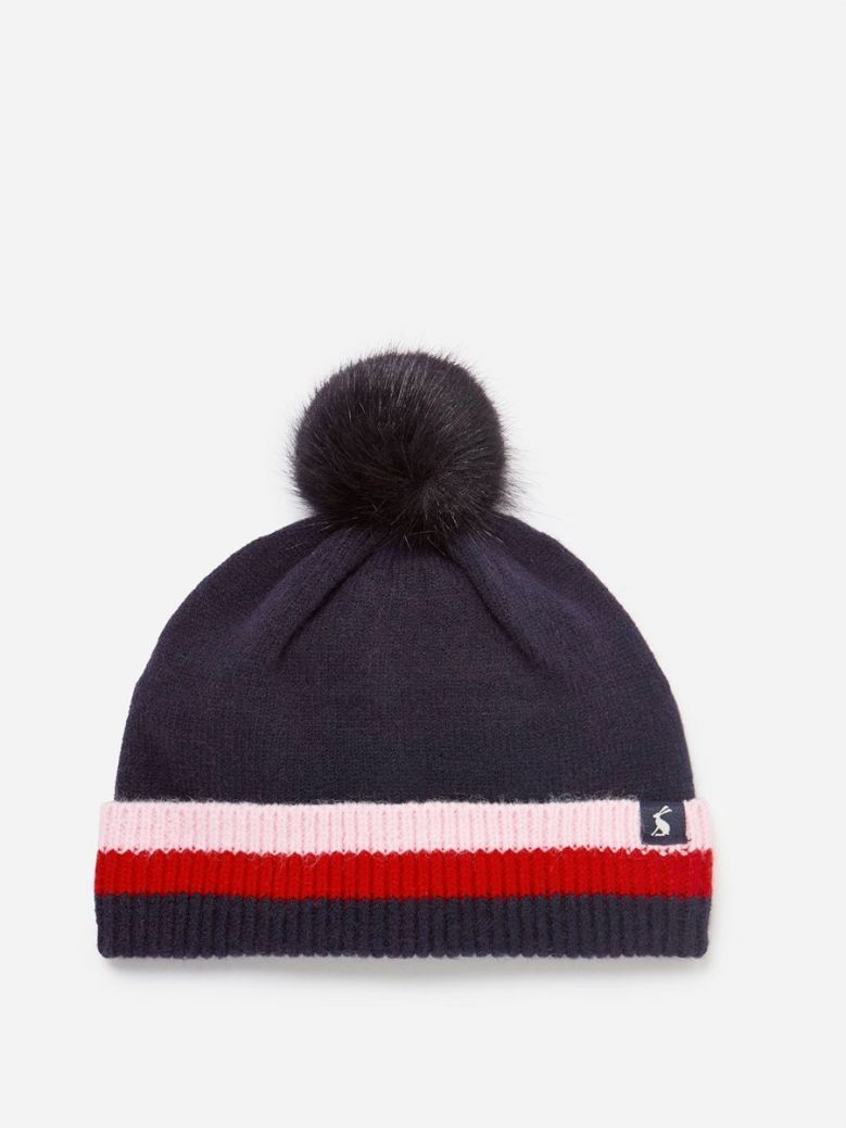 Joules French Navy Bobble Ribbed Knit Hat