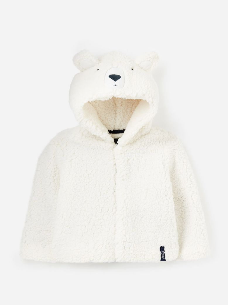 Joules Kids White Bear Cuddle Hooded Character Fleece