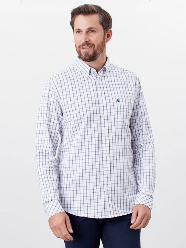 Joules White/Pink Check Welford Classic Fit Shirt