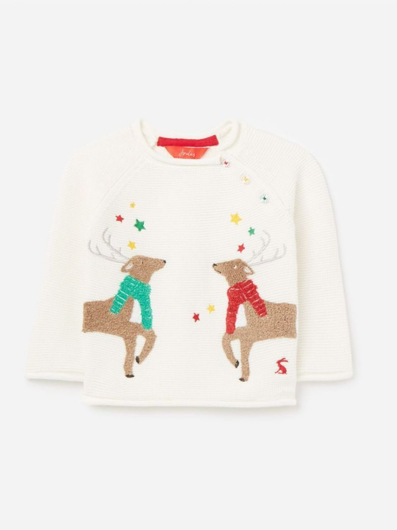 Joules White Reindeer Knitted Jumper