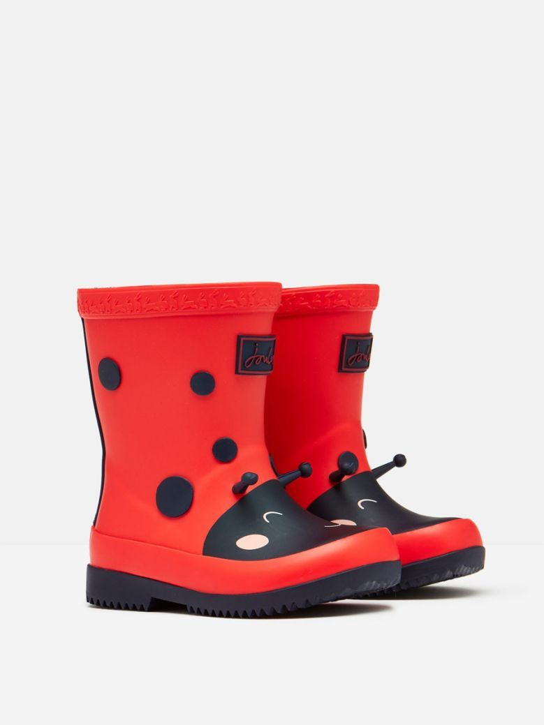 Joules Red Ladybird Printed Baby Wellies