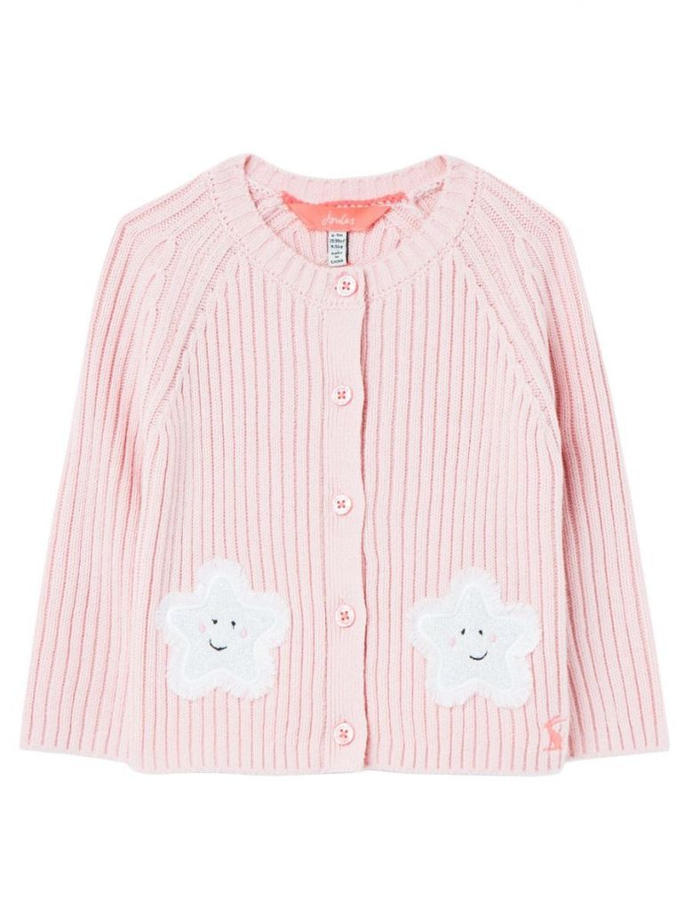 Joules Kids Pink Stars Southam Rib Knit Cardigan