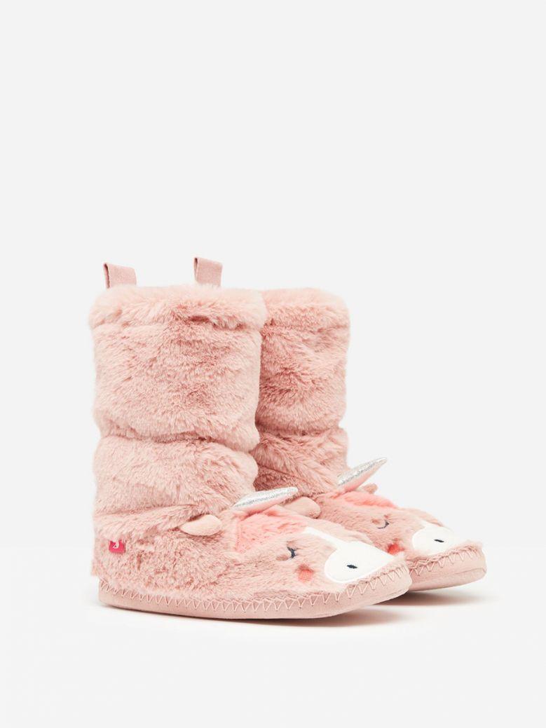 Joules Pink  Unicorn Padabout Luxe Faux Fur Slipper Sock