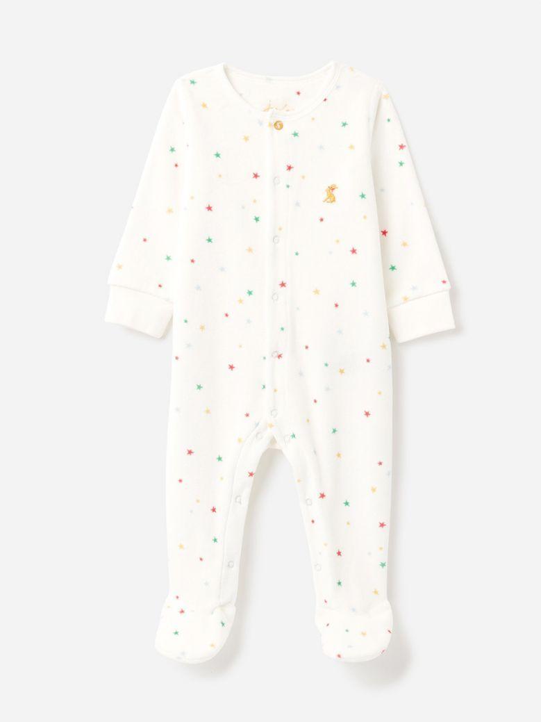 Joules Kids White Star The Velour Babygrow