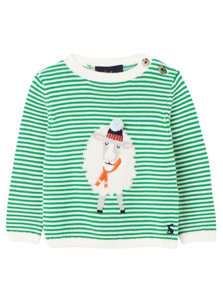 Joules Kids Ivy Green Sheep Intarsia Jumper