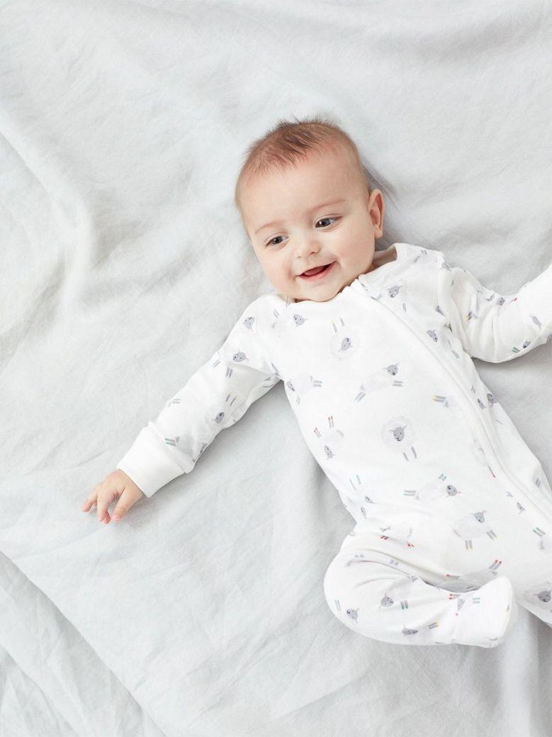 Joules White Sheep Zip Babygrow Organically Grown Cotton