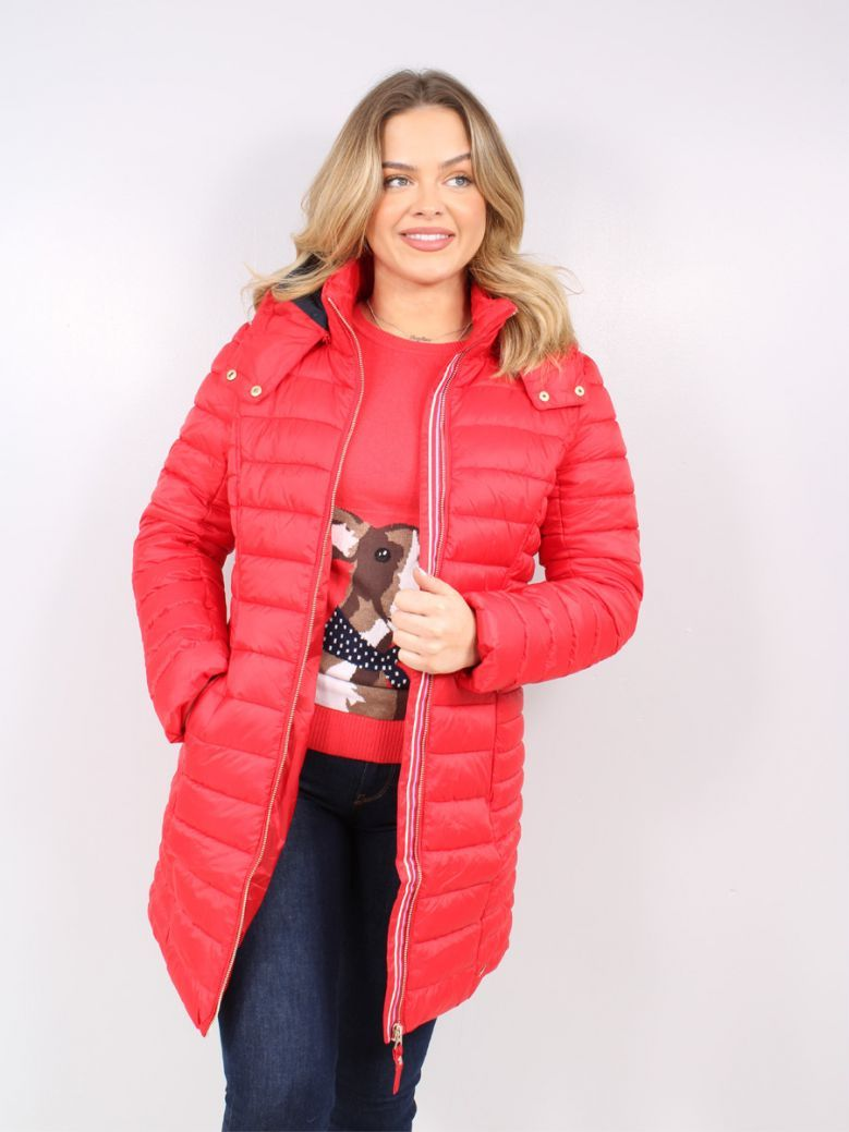 Joules Ladies Red Canterbury Long Luxe Padded Jacket