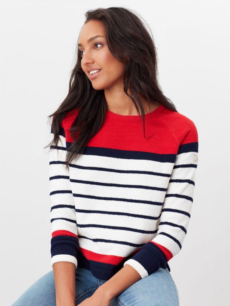 Joules Ladies Red Stripe Seaport Chenille Raglan Jumper