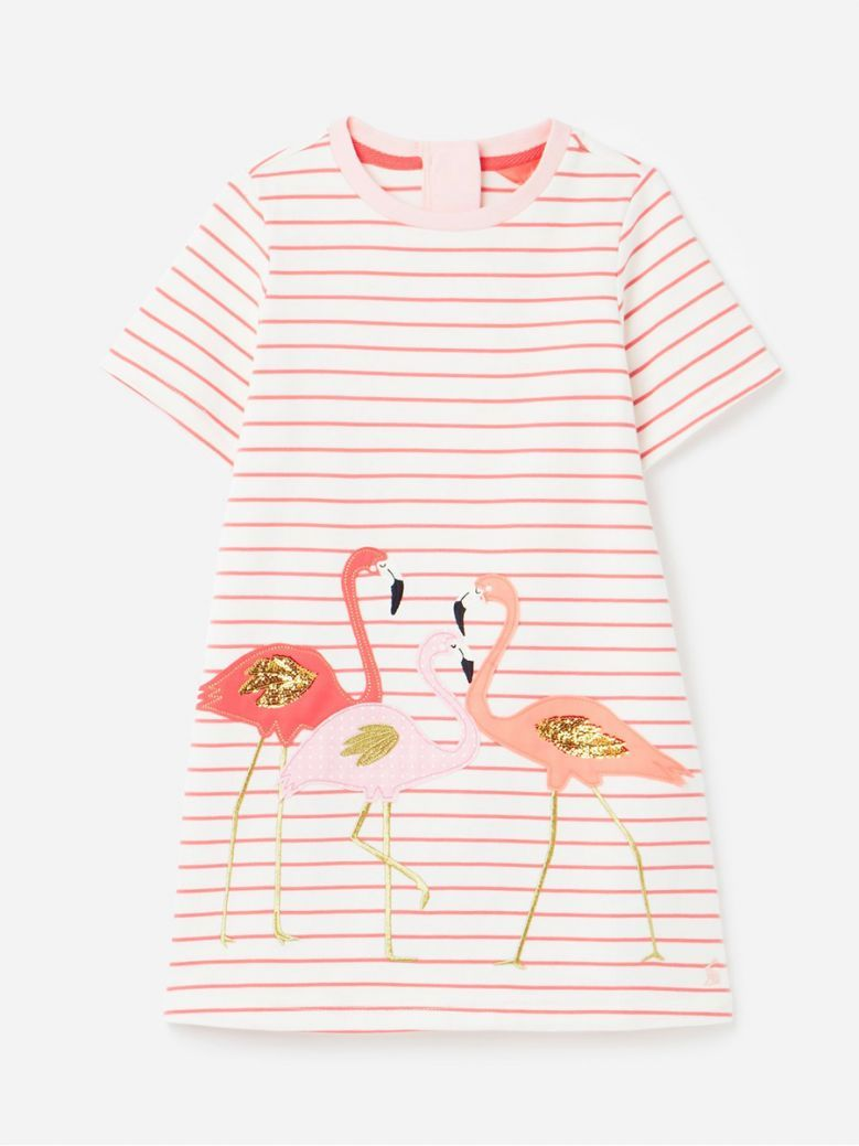 Joules Kids Pink Flamingo Rosalee Short Sleeve A-Line Dress