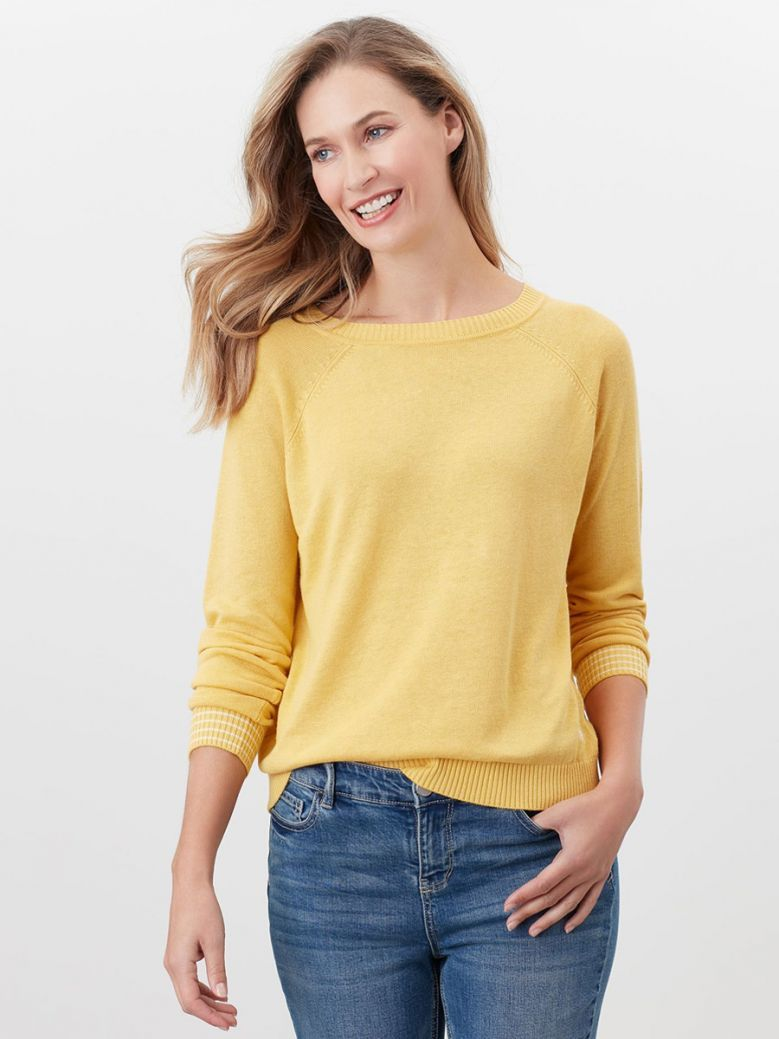 Joules Yellow Vicky Knitted Stripe Jumper